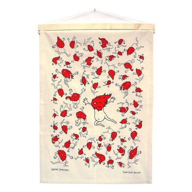 Organic Devolution Dancing Beards Organic Cotton Tea Towel Art Hanging