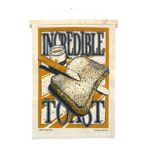 Organic Devolution Incredible Piece of Toast Organic Cotton Tea Towel Art hanging