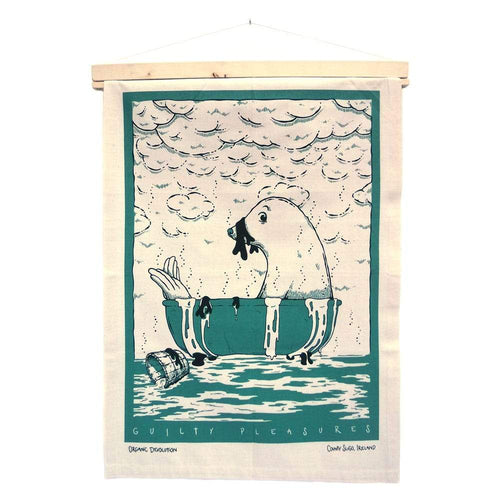 Organic Devolution Seal Seaweed Bath Organic Cotton Tea Towel Art Hanging