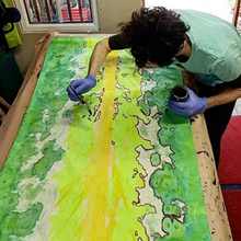Load image into Gallery viewer, Textile acid dyeing artist Ian Jermyn painting the fabric by Organic Devolution