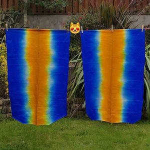 Textile acid dyeing blue with orange center strip by Organic Devolution