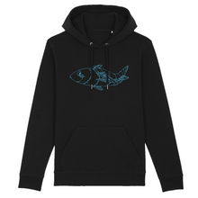 Load image into Gallery viewer, black organic cotton relaxed fit hooded sweatshirt hoodie fish