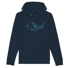 Load image into Gallery viewer, navy organic cotton relaxed fit hooded sweatshirt hoodie fish