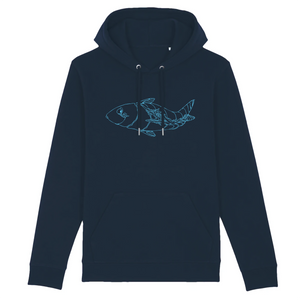 navy organic cotton relaxed fit hooded sweatshirt hoodie fish