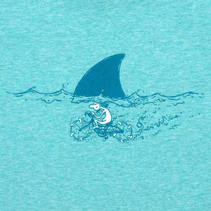 Organic Devolution Shark Fin Cycling Green Heather Organic Cotton Short Sleeve T-Shirt print detail