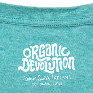Organic Devolution Shark Fin Cycling Green Heather Organic Cotton Short Sleeve T-Shirt neck print