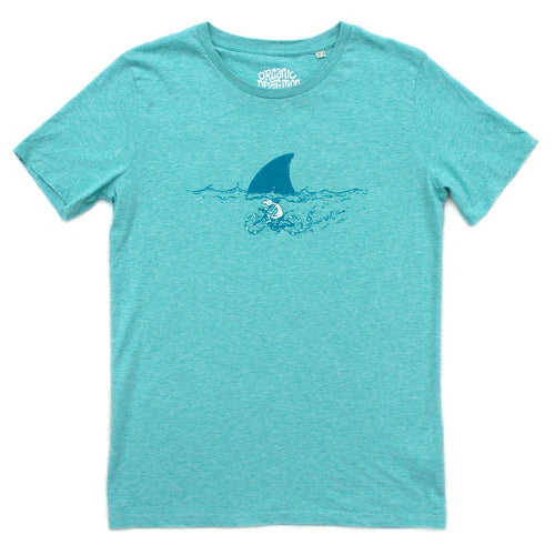 Organic Devolution Shark Fin Cycling Green Heather Organic Cotton Short Sleeve T-Shirt