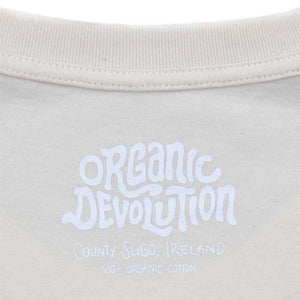 Organic Devolution Monkey Moped Single Fin Natural Organic Cotton Short Sleeve T-Shirt neck print