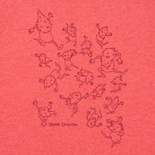 Load image into Gallery viewer, Organic Devolution Hairy Dancing Beards Red Heather Organic Cotton Short Sleeve T-Shirt print detail