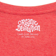 Load image into Gallery viewer, Organic Devolution Hairy Dancing Beards Red Heather Organic Cotton Short Sleeve T-Shirt neck print