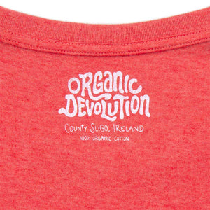 Organic Devolution Hairy Dancing Beards Red Heather Organic Cotton Short Sleeve T-Shirt neck print