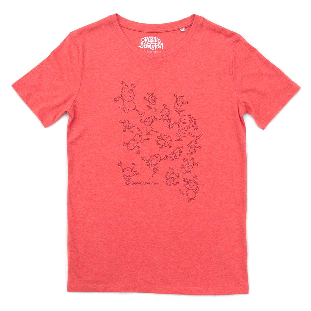 Organic Devolution Hairy Dancing Beards Red Heather Organic Cotton Short Sleeve T-Shirt