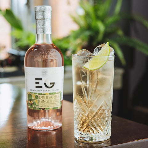 Edinburgh Gin Rhubarb & Gin Liqueur with Ginger Ale Cocktail