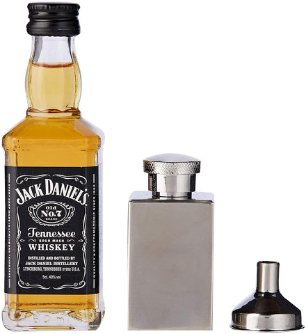 Jack Daniels 5cl Miniature and Hip Flask Gift Tin