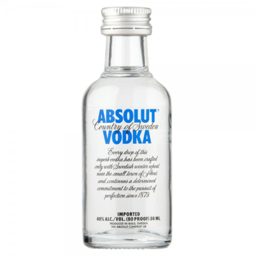 Just Miniatures-Absolut Blue Plain Vodka Miniature
