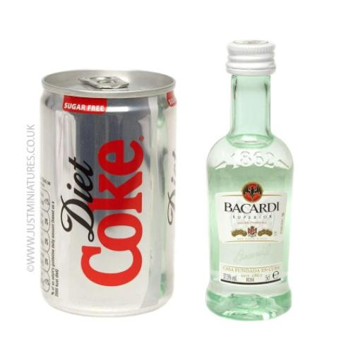 Just Miniatures-Bacardi Rum and Diet Coke Mini Cans