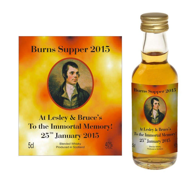 Design 02 - Personalised Burns Night / Burns Supper Whisky Miniature