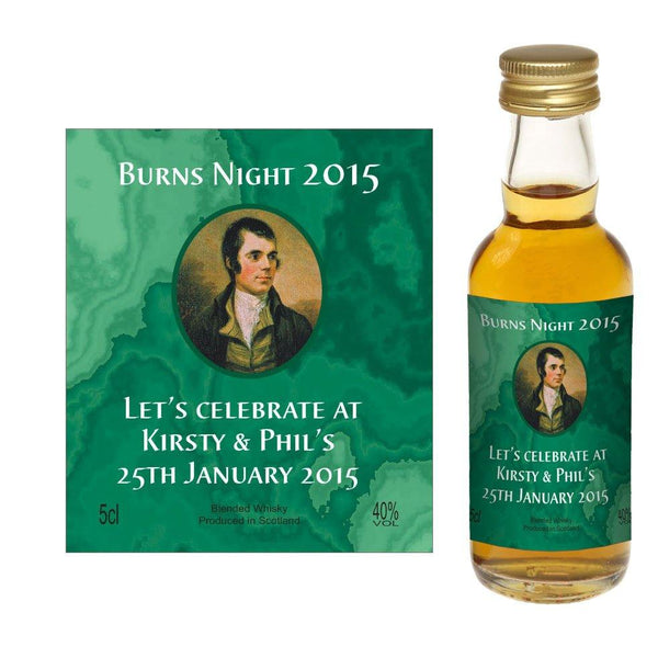 Design 03 - Personalised Burns Night / Burns Supper Whisky Miniature