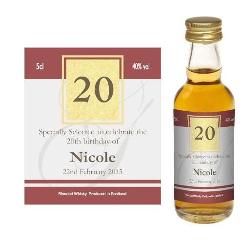 Design 01 (Personalised Birthday Card Wine or Spirit Miniature)