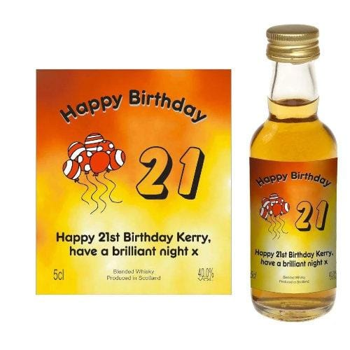 Design 03 (Personalised Birthday Card Wine or Spirit Miniature)