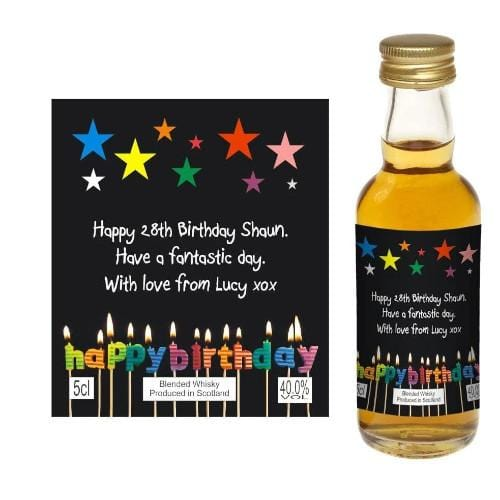 Design 08 (Personalised Birthday Card Wine or Spirit Miniature)