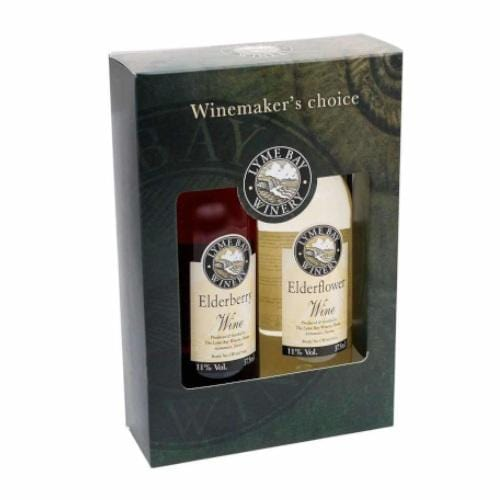 Lyme Bay Elderberry Wine and Elderflower Wine Gift Box - 2 x 35cl