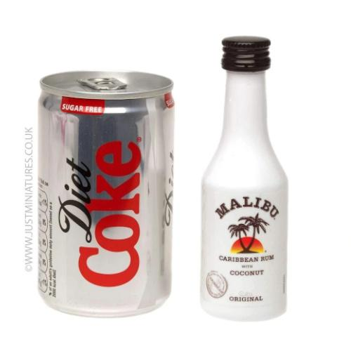 Just Miniatures-Malibu Coconut Rum & Diet Coke (Miniature & Mini Can Set)