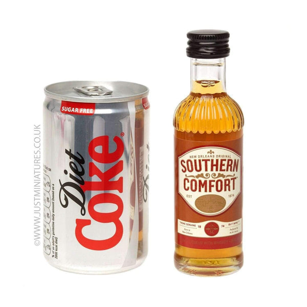 Just Miniatures:Southern Comfort Liqueur & Diet Coke (Miniature & Mini Can Set)