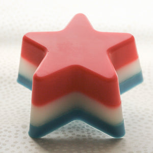 Patriotic Red White and Blue Soap, Watermelon and Vanilla Star Soap