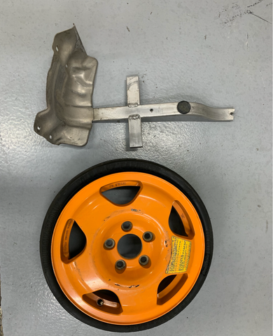 NSX orange spare tire and bracket
