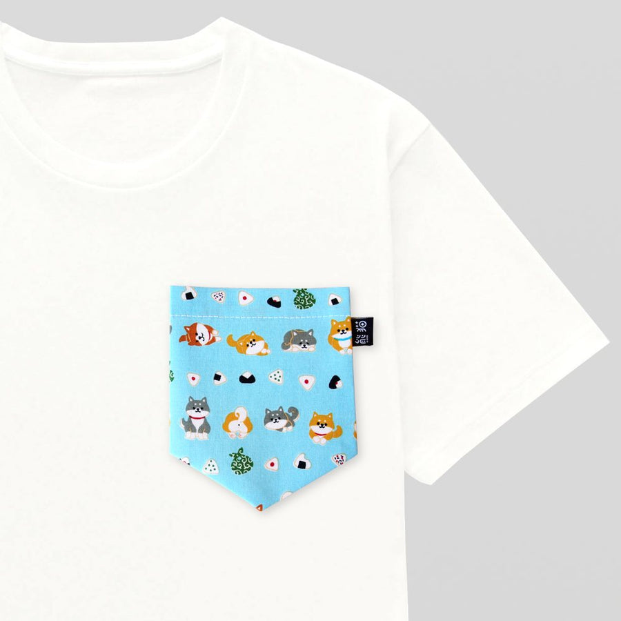 Fabelhaft Shiba Inu Onigiri Pocket Tee for Guys | Panda Butt @DD_37
