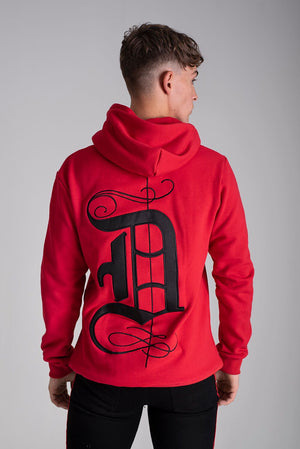 Signature Hoodie with Embroidery D Red