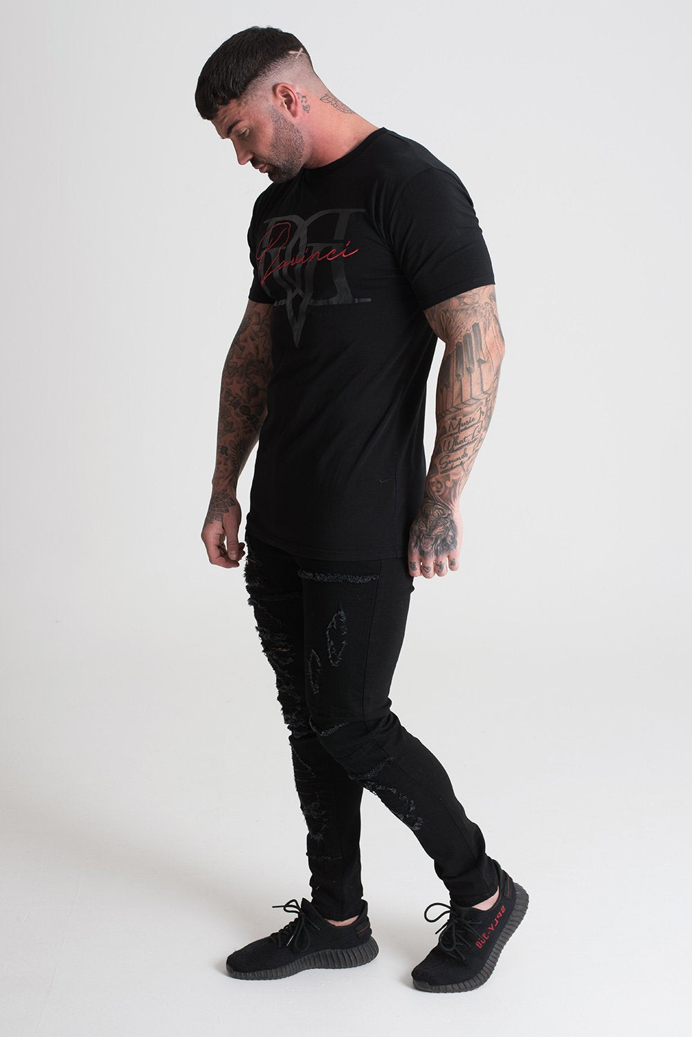 Colab Print & Embroidery Tee Black