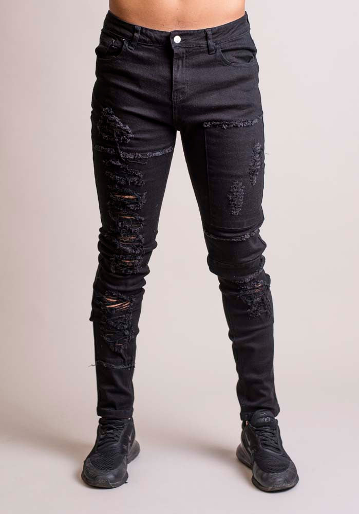 Signature Heavy Distressed Jeans Black