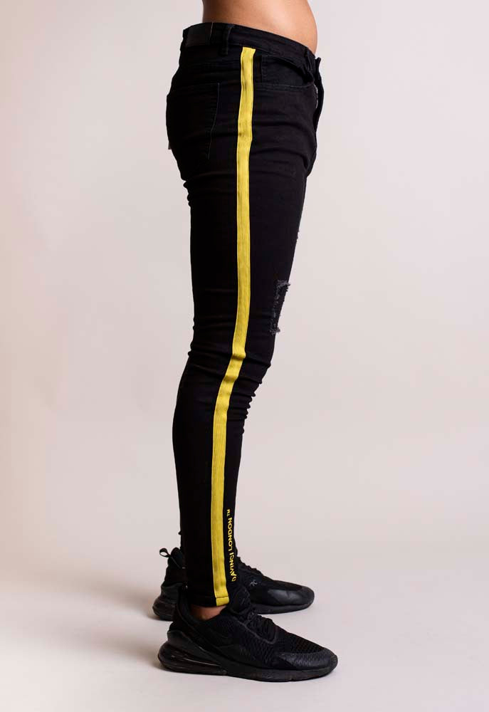 Davinci London Black with Yellow Tape Detail  Skinny Jeans