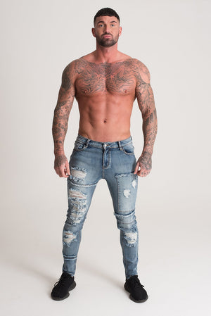 Signature Heavy Distressed Jeans Blue