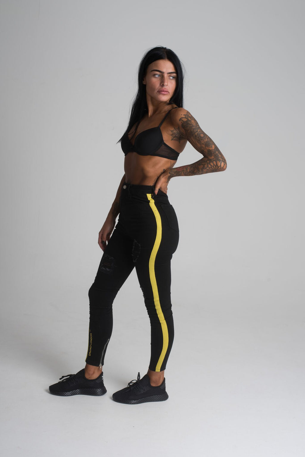 Davinci London high Waisted  Black with Yellow Tape Detail  Skinny Jeans