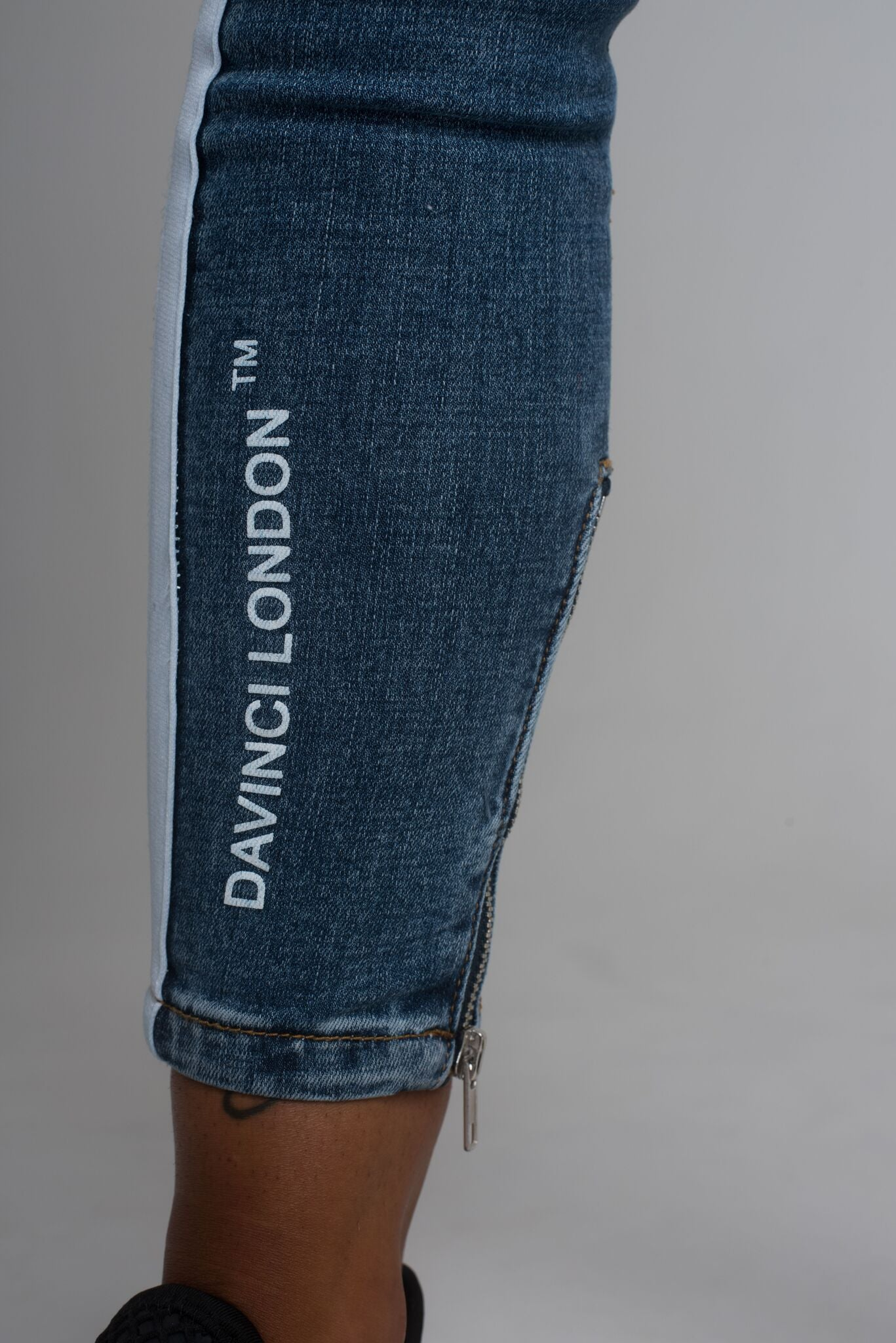 Davinci London Womens High Waisted Blue with White Tape Detail Skinny Jeans