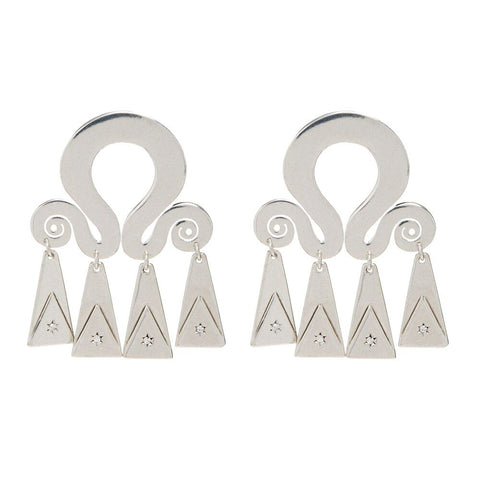Spiral Statement Earrings- Silver