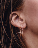 Mini Cross Hoops- Plated Rose Gold