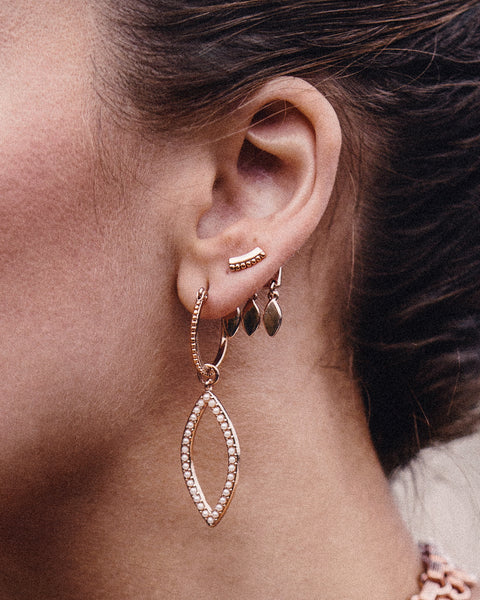 Marquise Dangle Studs- Rose Gold