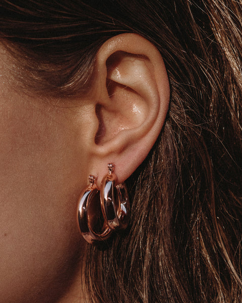 Baby Amalfi Tube Hoops- Rose Gold
