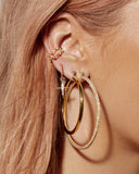Triple Pave Hoops- Gold (Ships Early May)