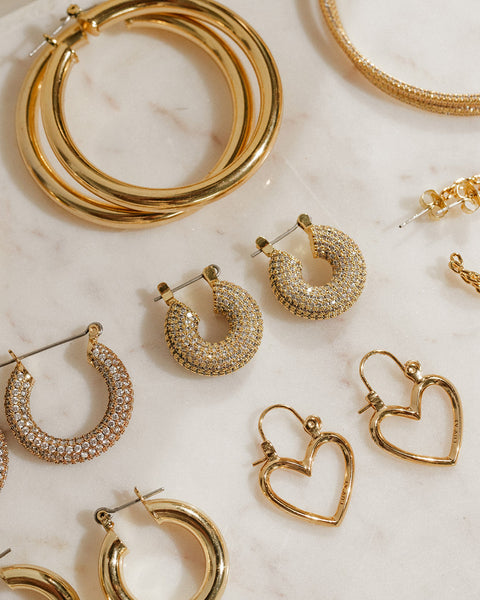 Pave Mini Donut Hoops- Gold (Ships Early October)