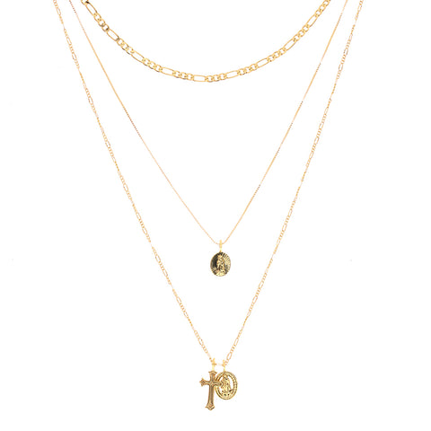 Isidore Cross Charm Necklace- Gold
