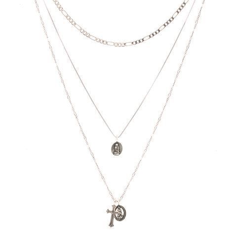 Isidore Cross Charm Necklace- Silver