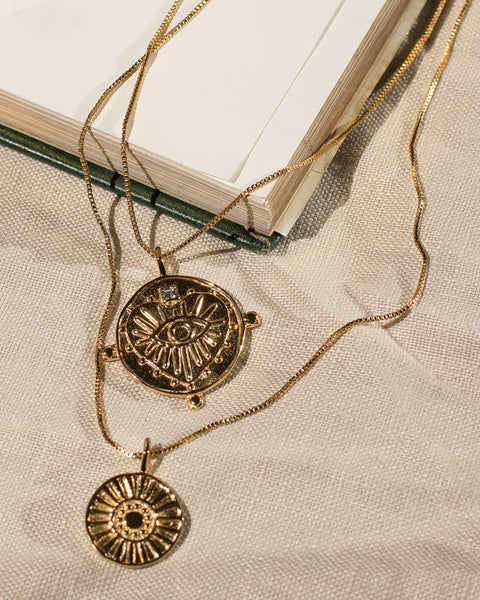 Evil Eye Double Coin Necklace- Gold (Ships Early August)