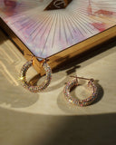 Pave Baby Amalfi Hoops- Rose Gold- Rainbow Crystal