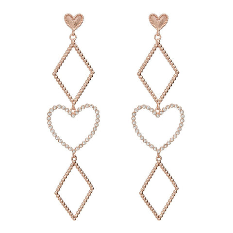 Dotted Heart Statement Earrings- Rose Gold