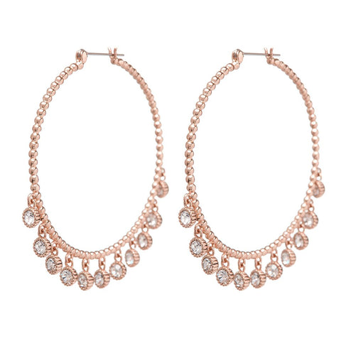 Maraca Shaker Statement Hoops- Rose Gold